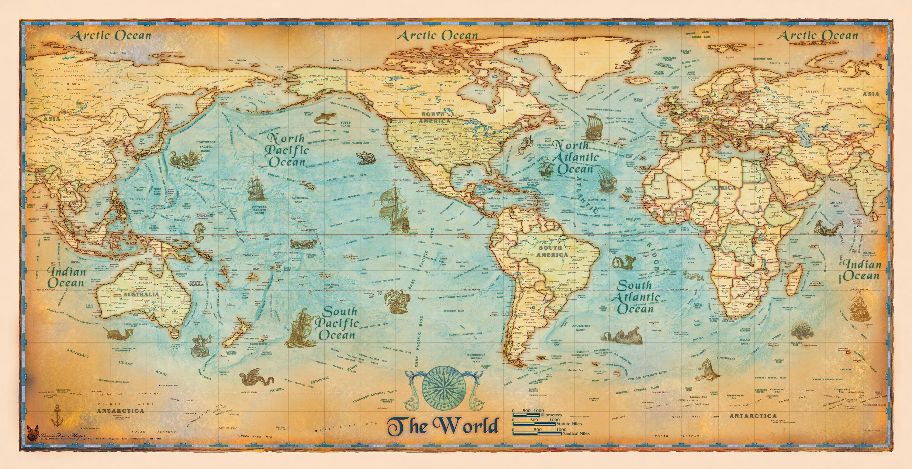 Download Wall Maps World Wall Maps Antique Style World Wall Map from ...