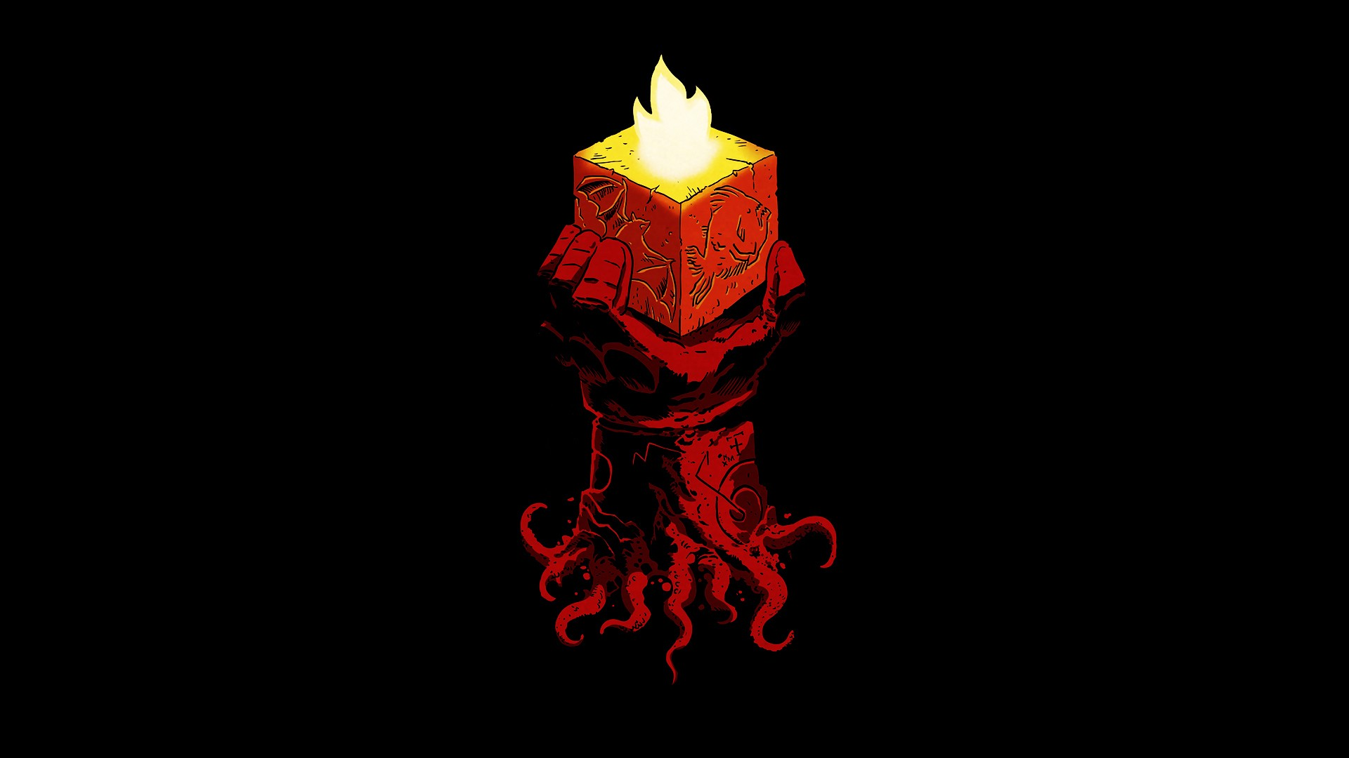 minimalism Hellboy Comics Wallpapers HD Desktop and 1920x1080