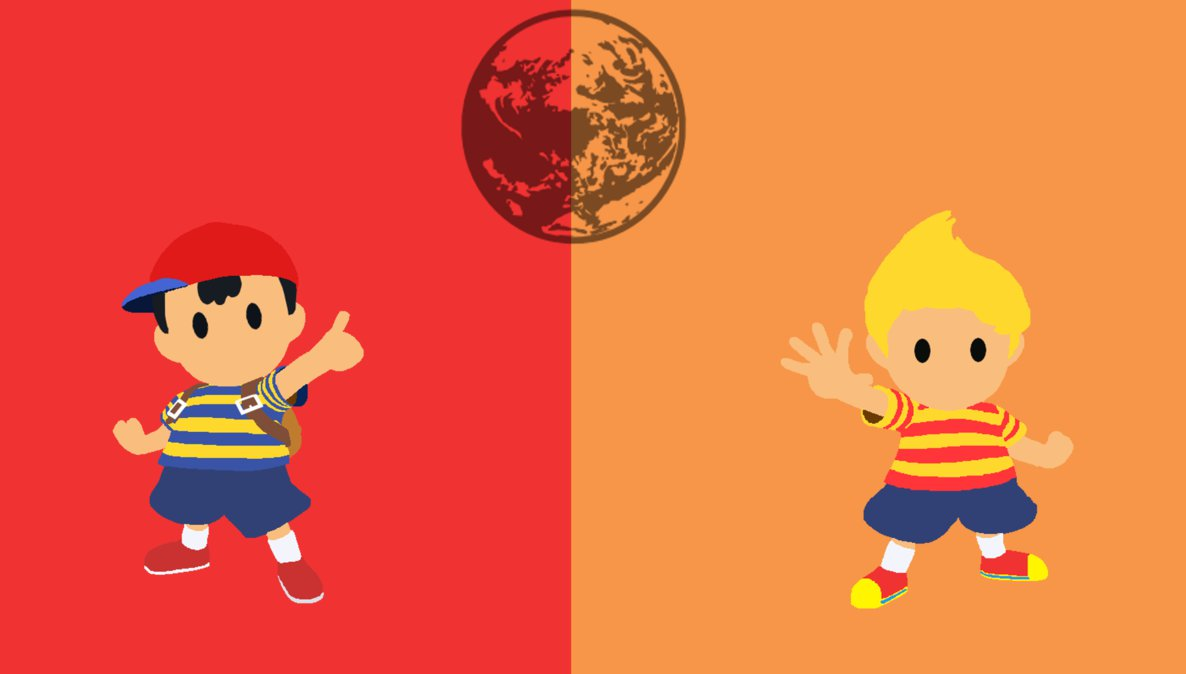 Ness and Lucas Minimalistic Wallpaper by MI6zombieguy92 1186x674
