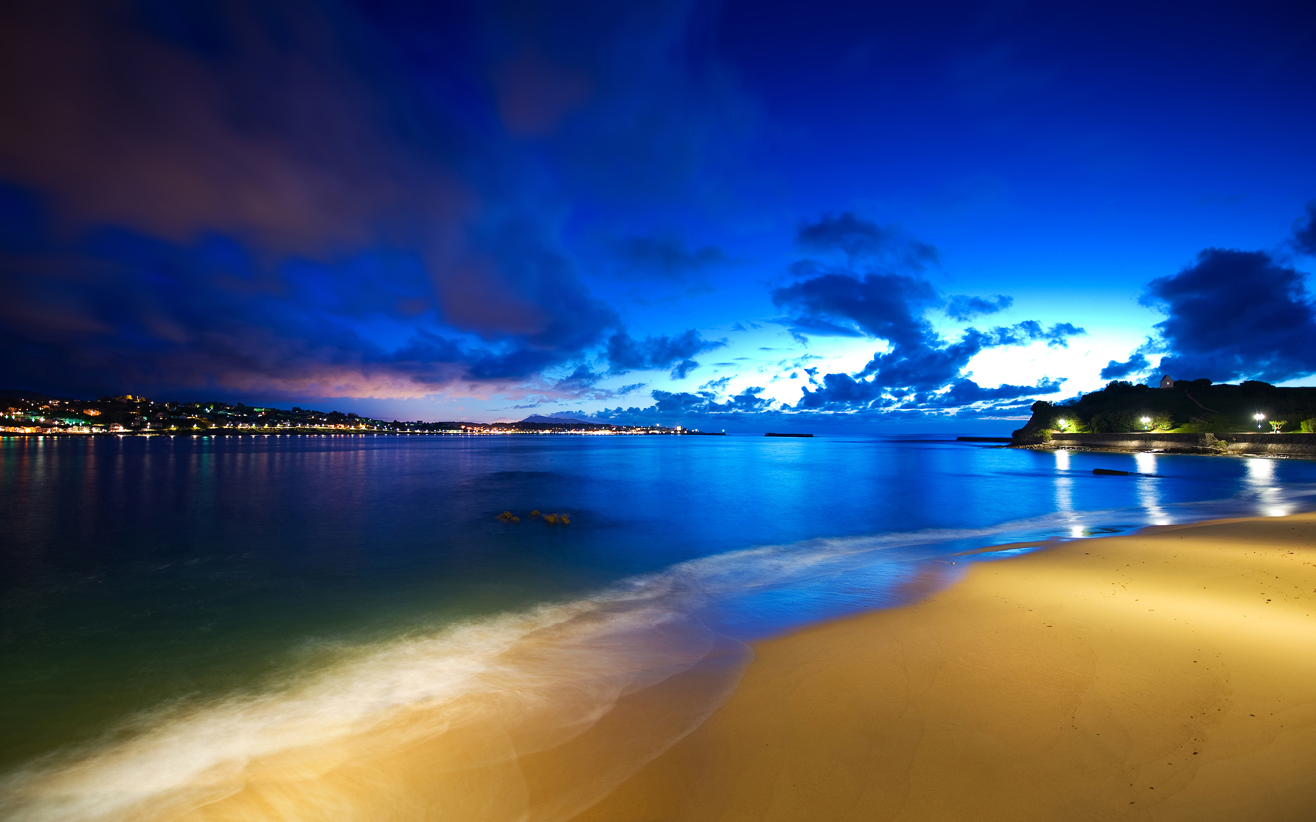 Ocean Beach At Night HD Wallpaper 2560x1600