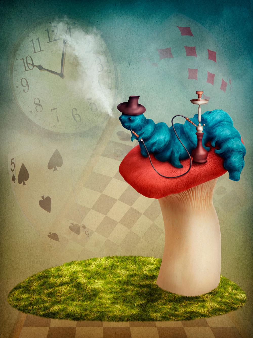 Free Download Alice In Wonderland Hookah Smoking Caterpillar Wall