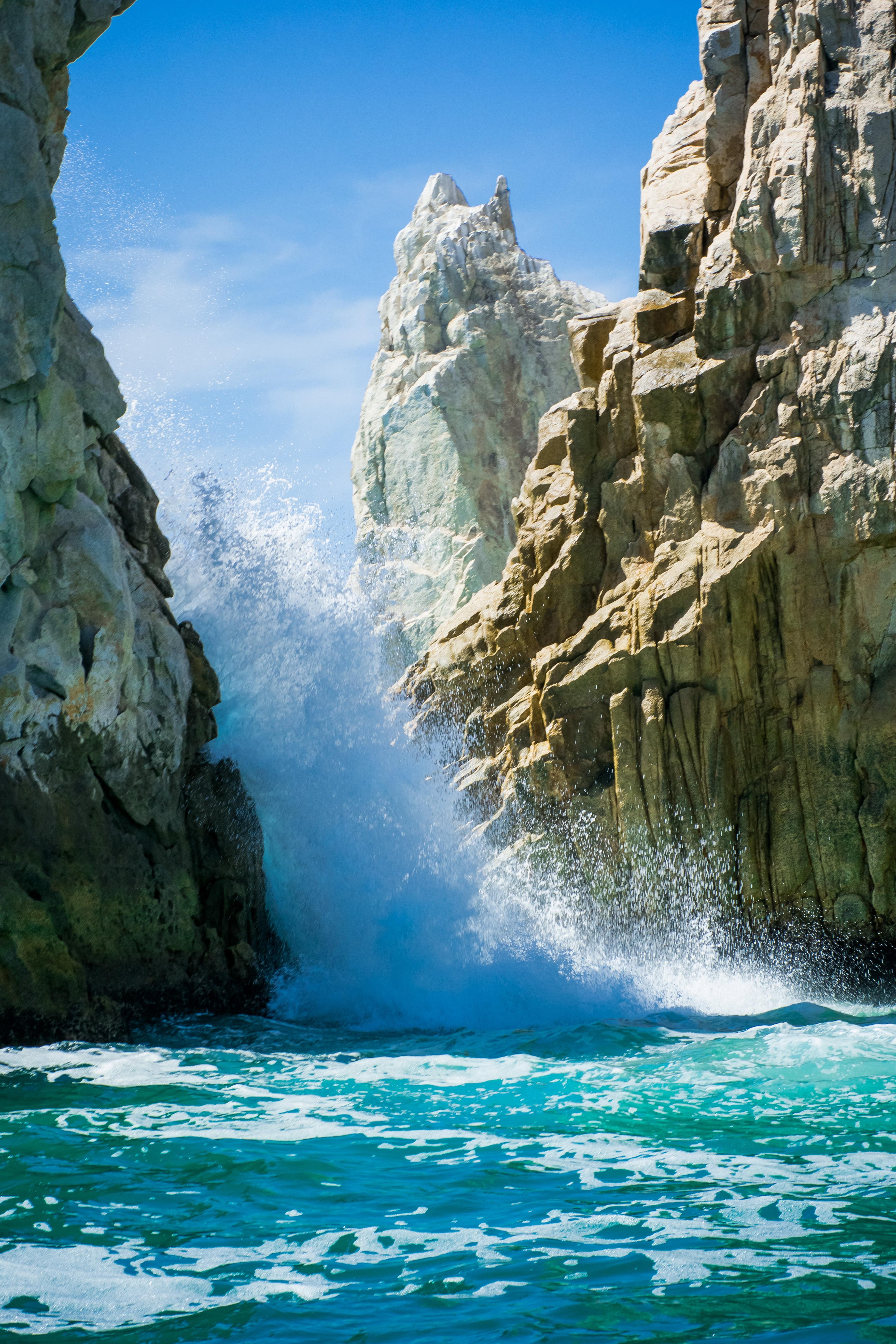 HD wallpaper seawaves through rocks Crashing Cabo San Lucas 3648x5472