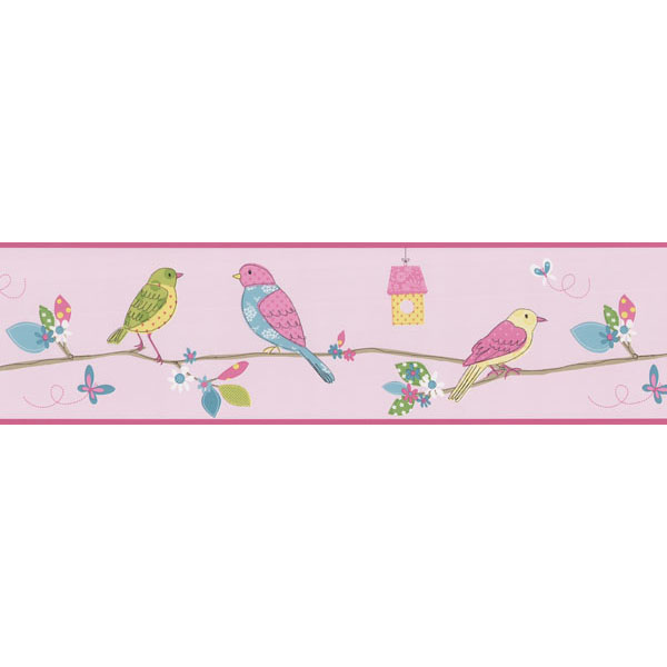 451 1842 Pink Bird Branch   Brewster Wallpaper Borders 600x600
