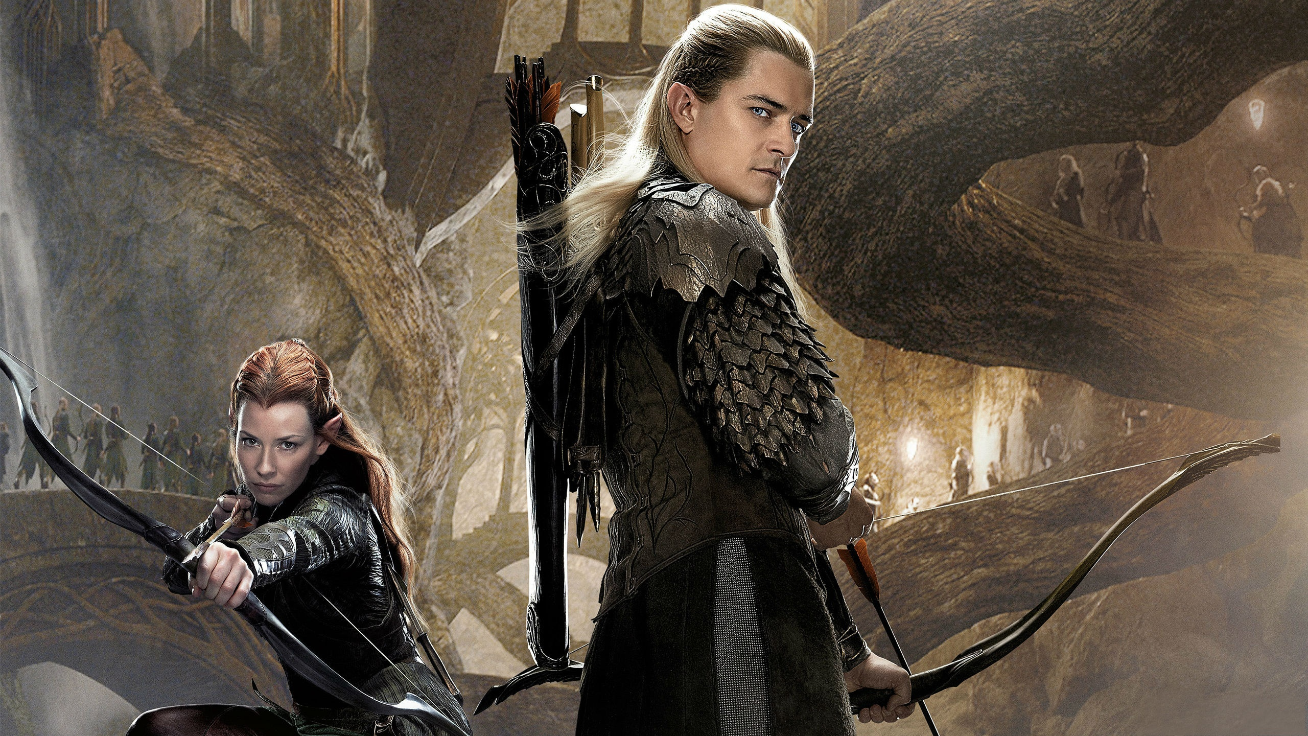 Lord of the Rings The Hobbit Orlando Bloom Legolas Evangeline Lilly 2560x1440