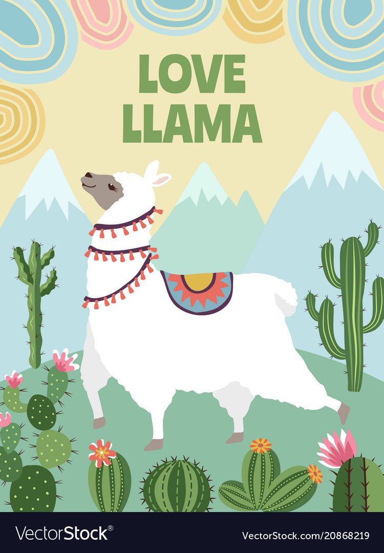 Background picture of llama mountains and Vector Image 750x1080