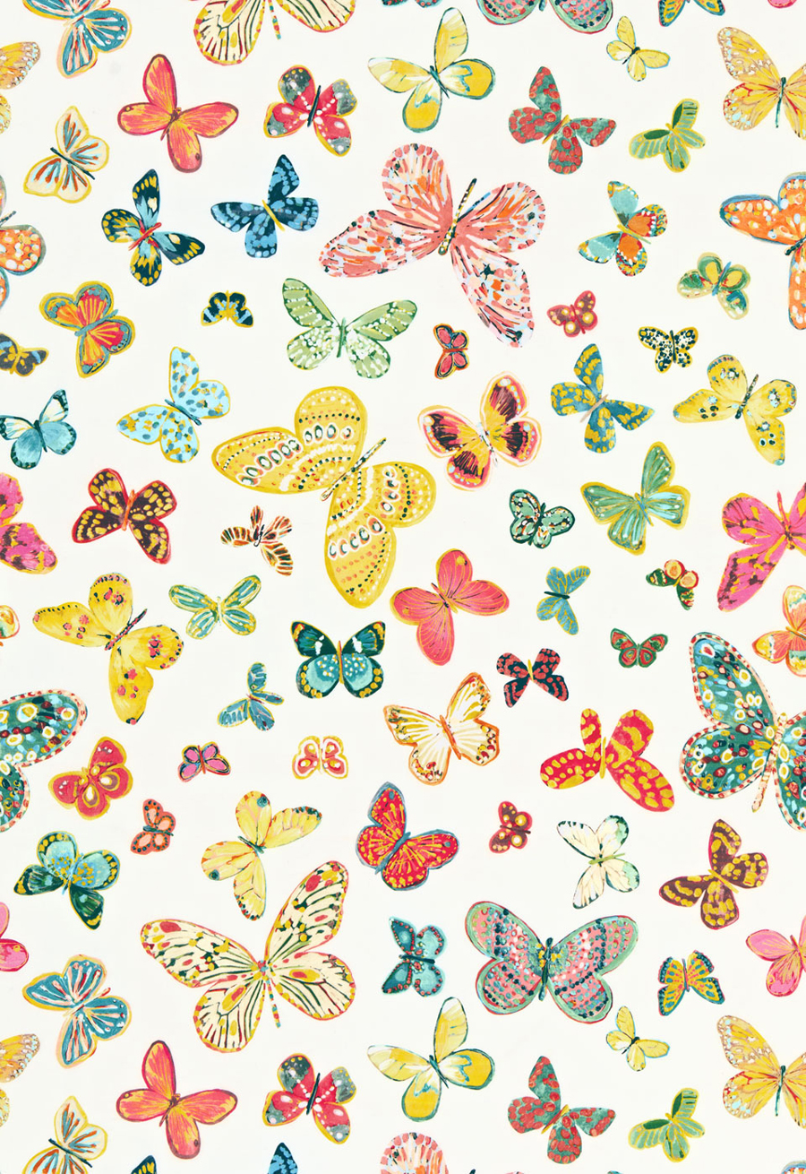 Schumacher butterfly wallpaper wallpapersafari for Unique childrens fabric