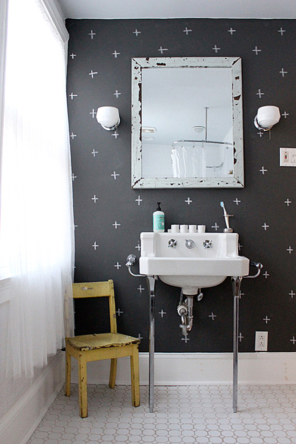 In this next space from Second Hand Rose bathroom walls become the 600x900