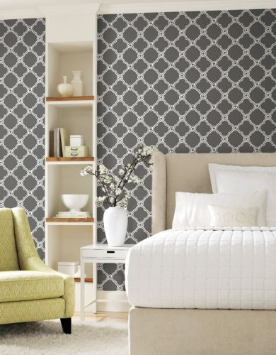Trellis Wallpaper Dark Grey White Diamond Contemporary Modern Wallp 390x500