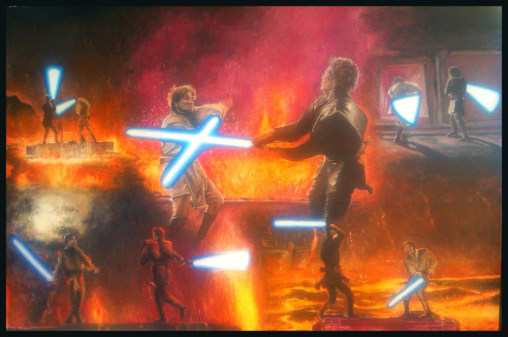 Anakin vs Obi wan canvas by Galbatore 1024x679