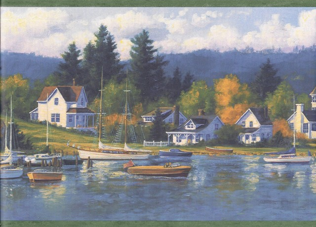 Green Lake Houses Forest Wallpaper Border   Lodge Outdoors 640x459