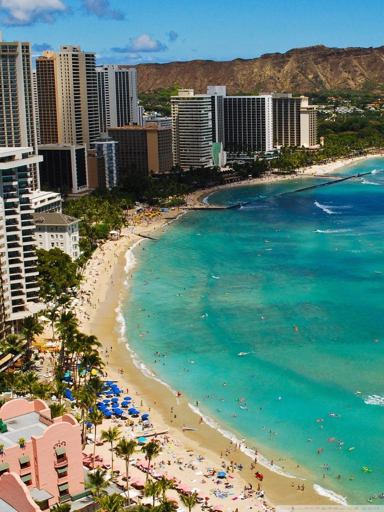 Waikiki Beach 4K HD Desktop Wallpaper for 4K Ultra HD TV Dual 768x1024