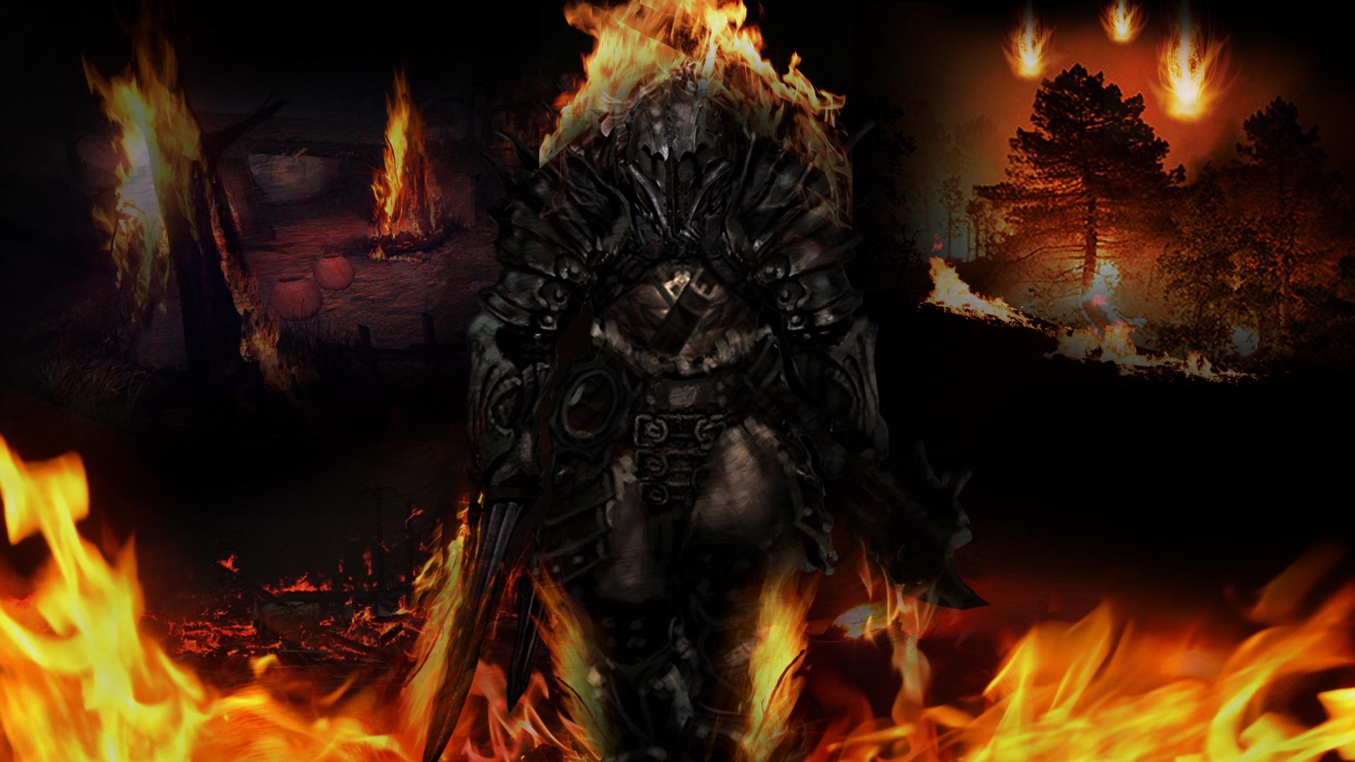 Diablo 3 Barbarian Fire Wallpaper by CHIPINATORs 1920x1080