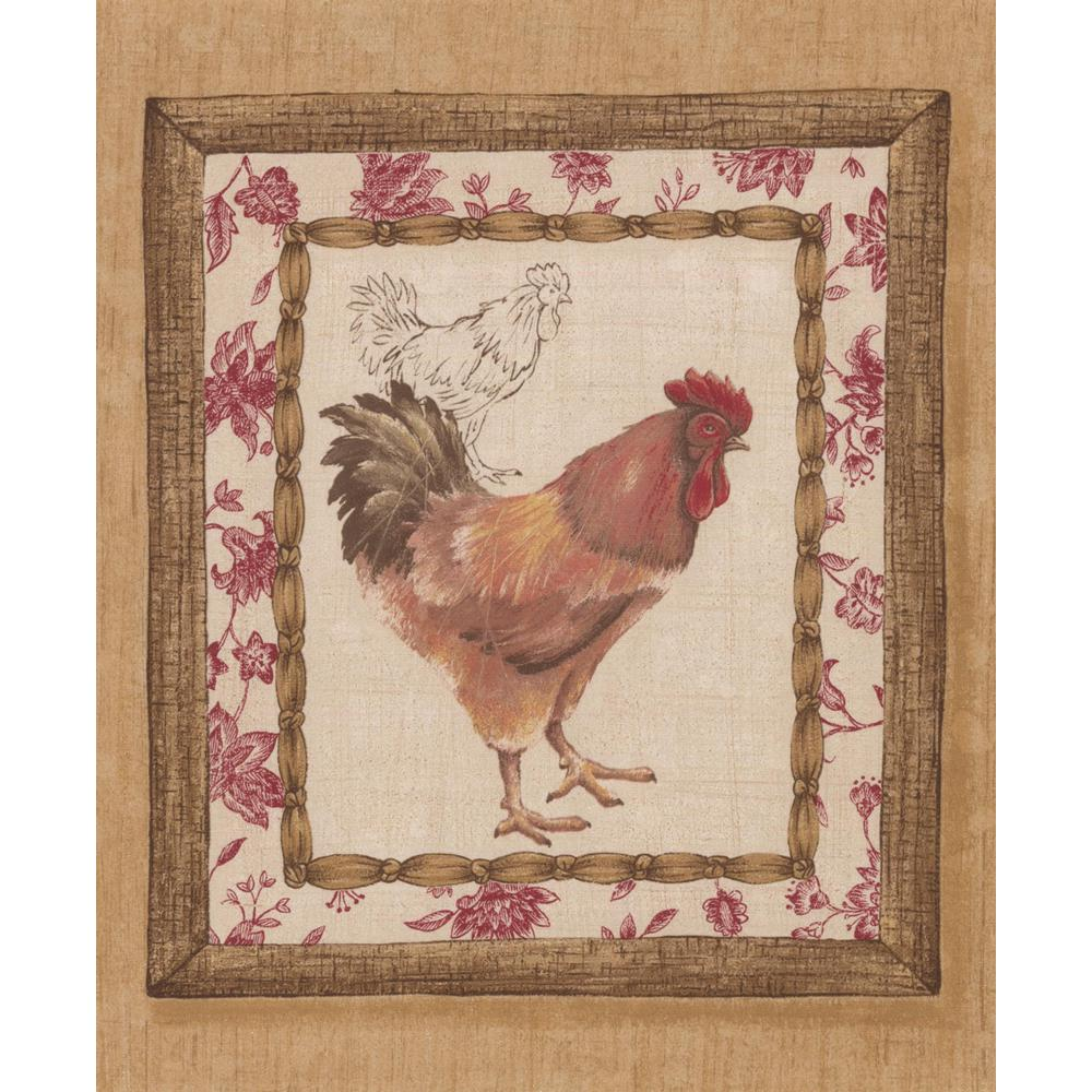 Retro Art Retro Rooster Paintings on Brown Wall Vintage Prepasted 1000x1000