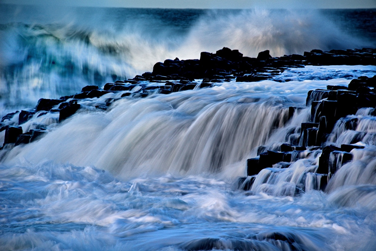 Picture Giants Causeway Antrim Northern Ireland Nature Waves 1280x854