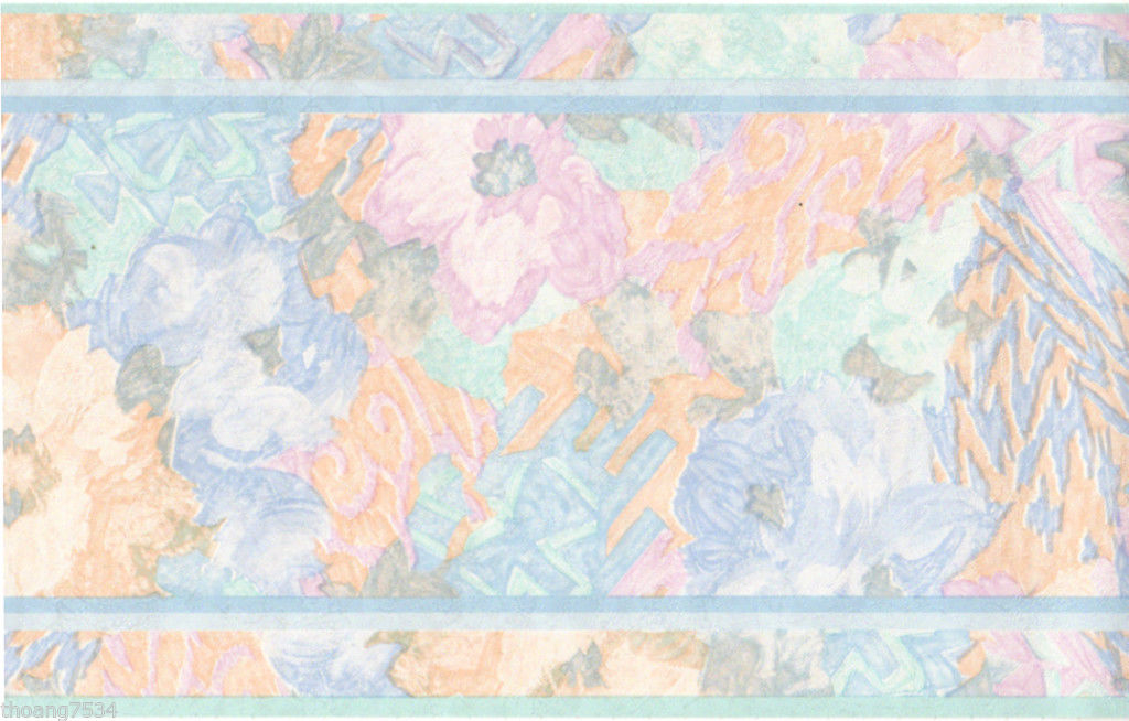 Peach Pink Tan Watercolor Tie Dye Abstract Floral Satin Wall paper Border
