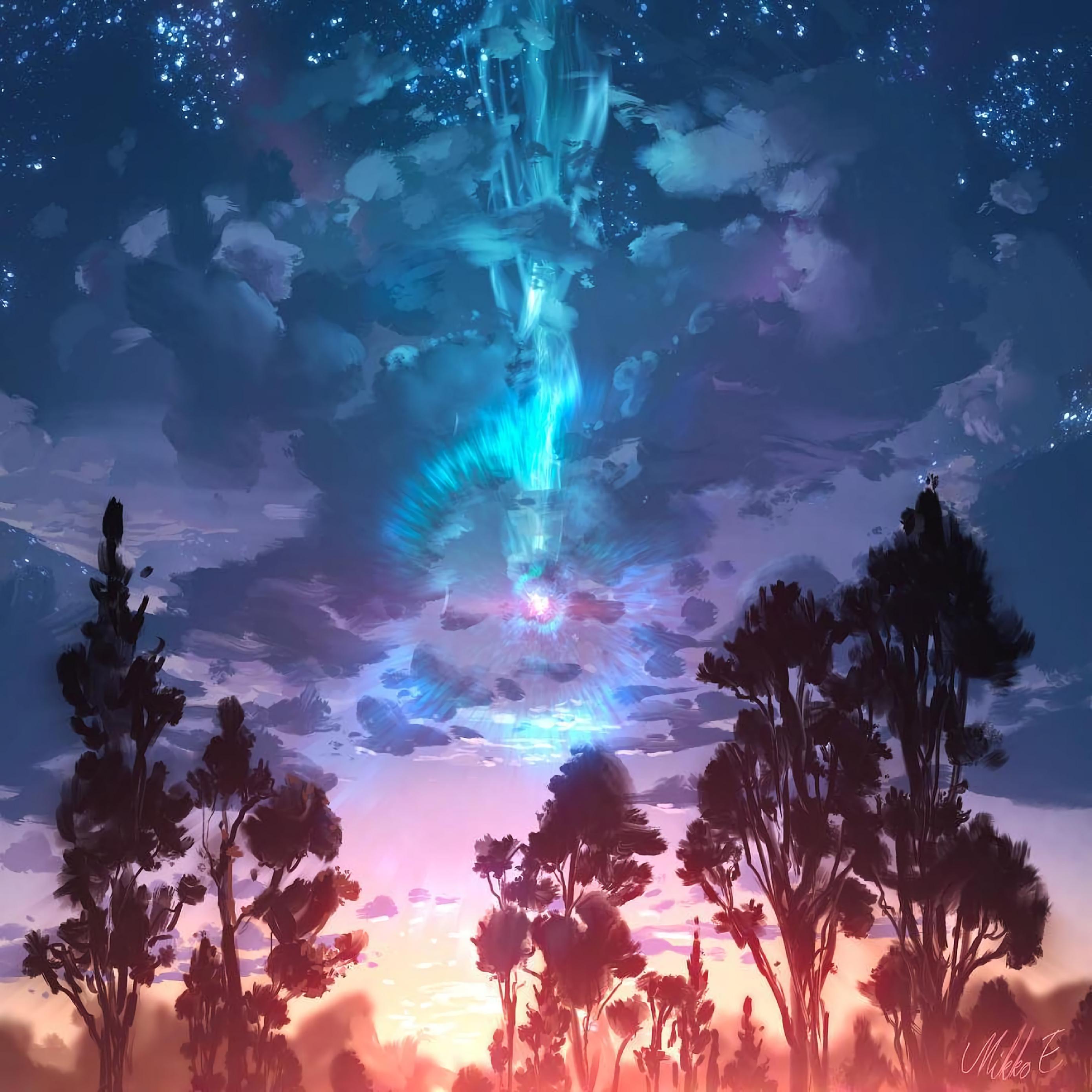 Download wallpaper 2780x2780 landscape art trees clouds paint 2780x2780