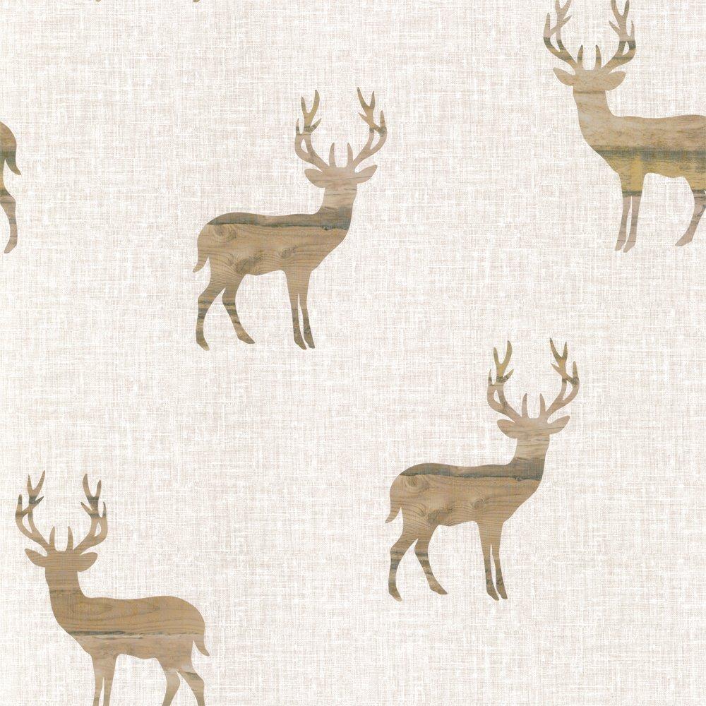 Love Wallpaper Wooden Stag Wallpaper Cream Beige   Next Day 1000x1000