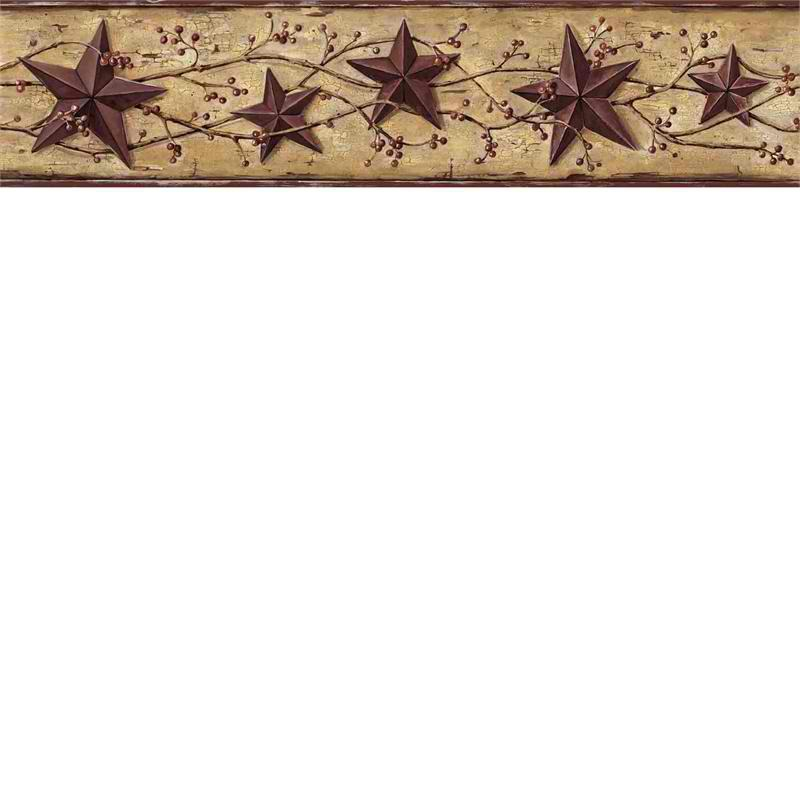 Tan Heritage Tin Star Wallpaper Border   Rustic Country Primitive 800x800