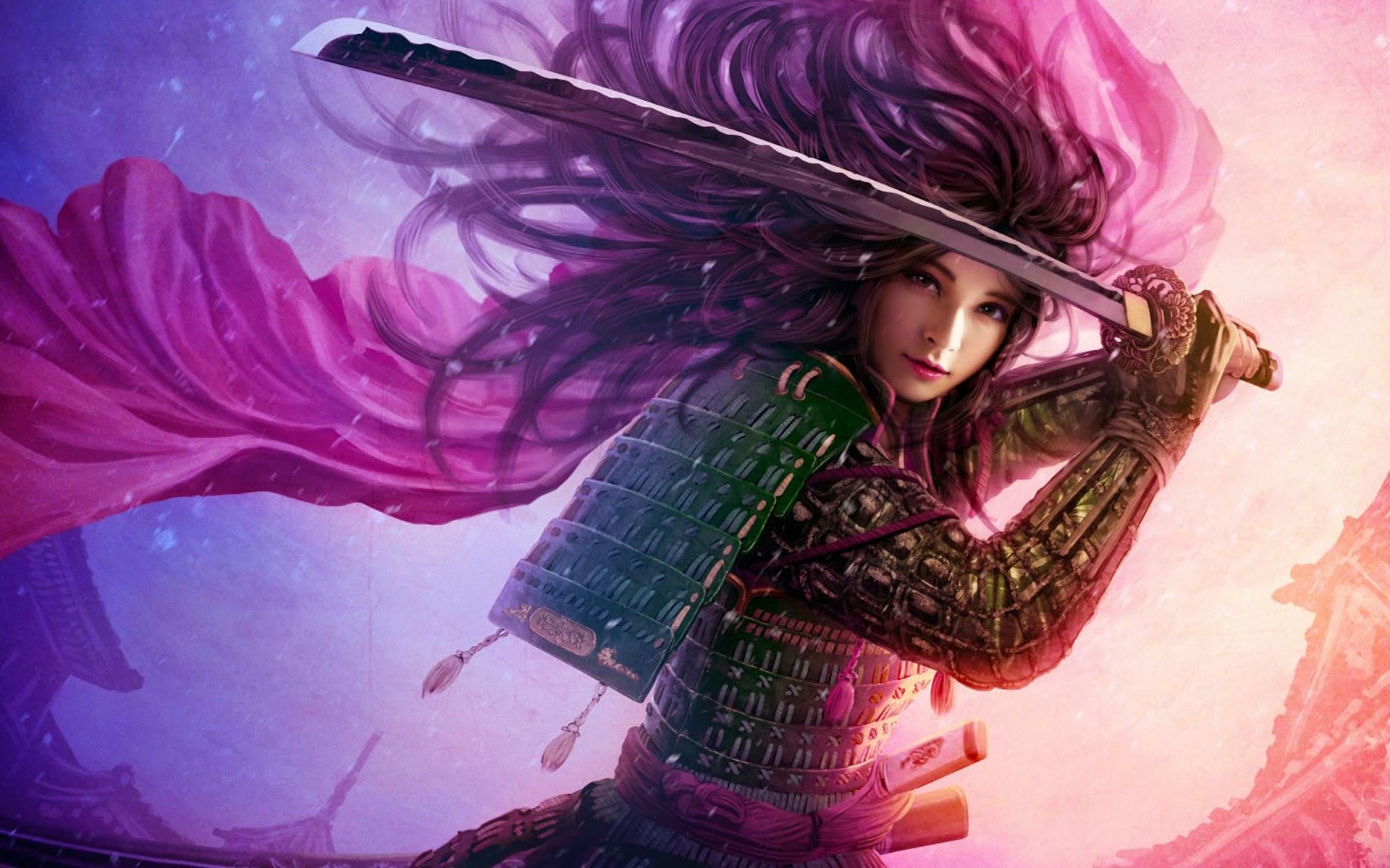 3D Samurai Girl Katana Armor 8n   IVY Wallpapers 1920x1200