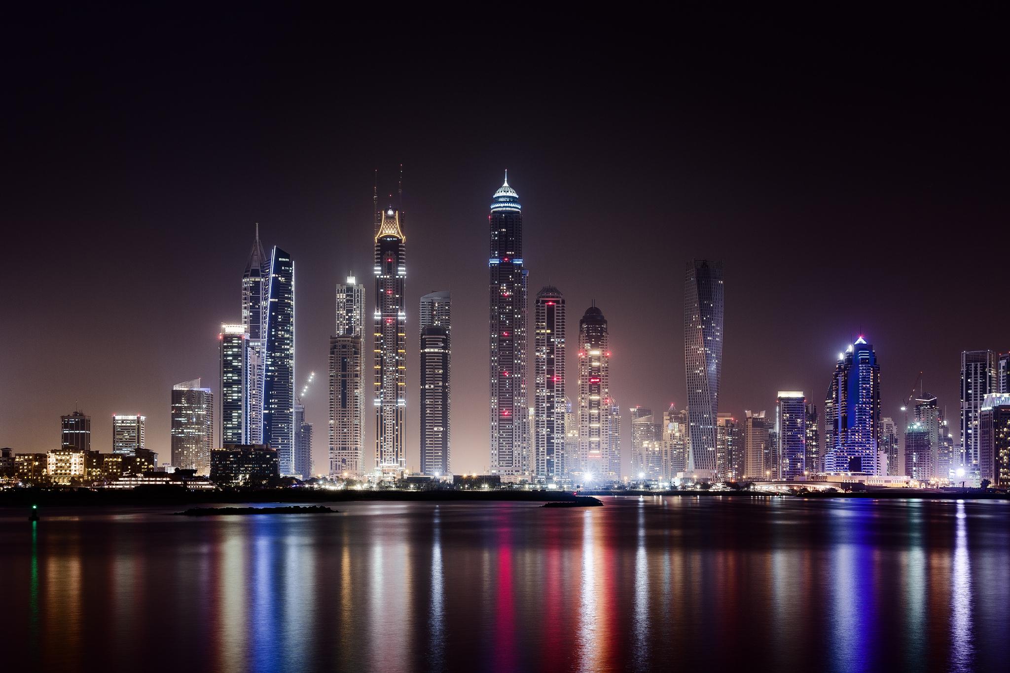 city Dubai city night wallpaper hd skyscraper lights desktop hd 2048x1365