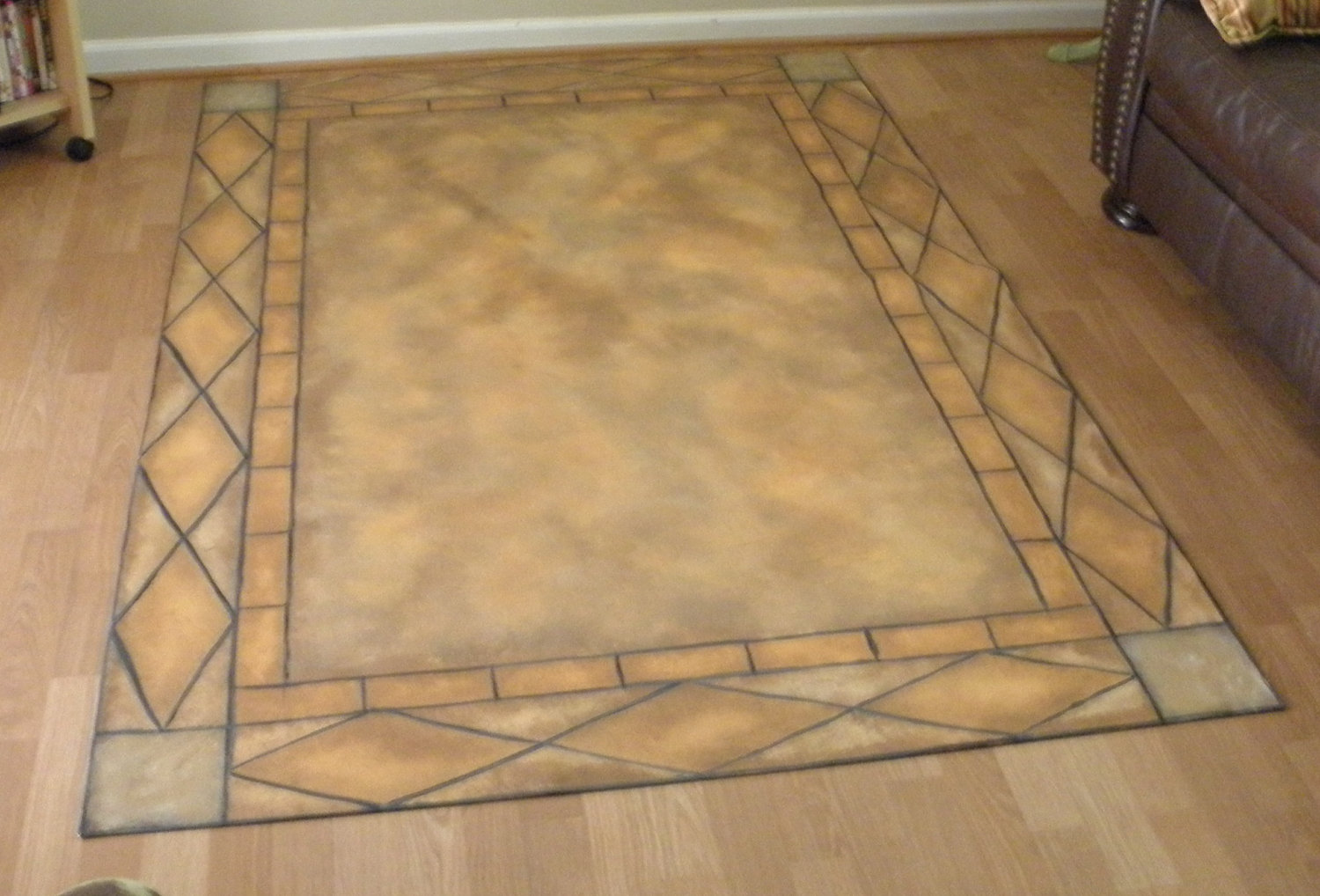 Tuscan Tile Floorcloth Canvas Rug Hand Painted by steponitart 1500x1018