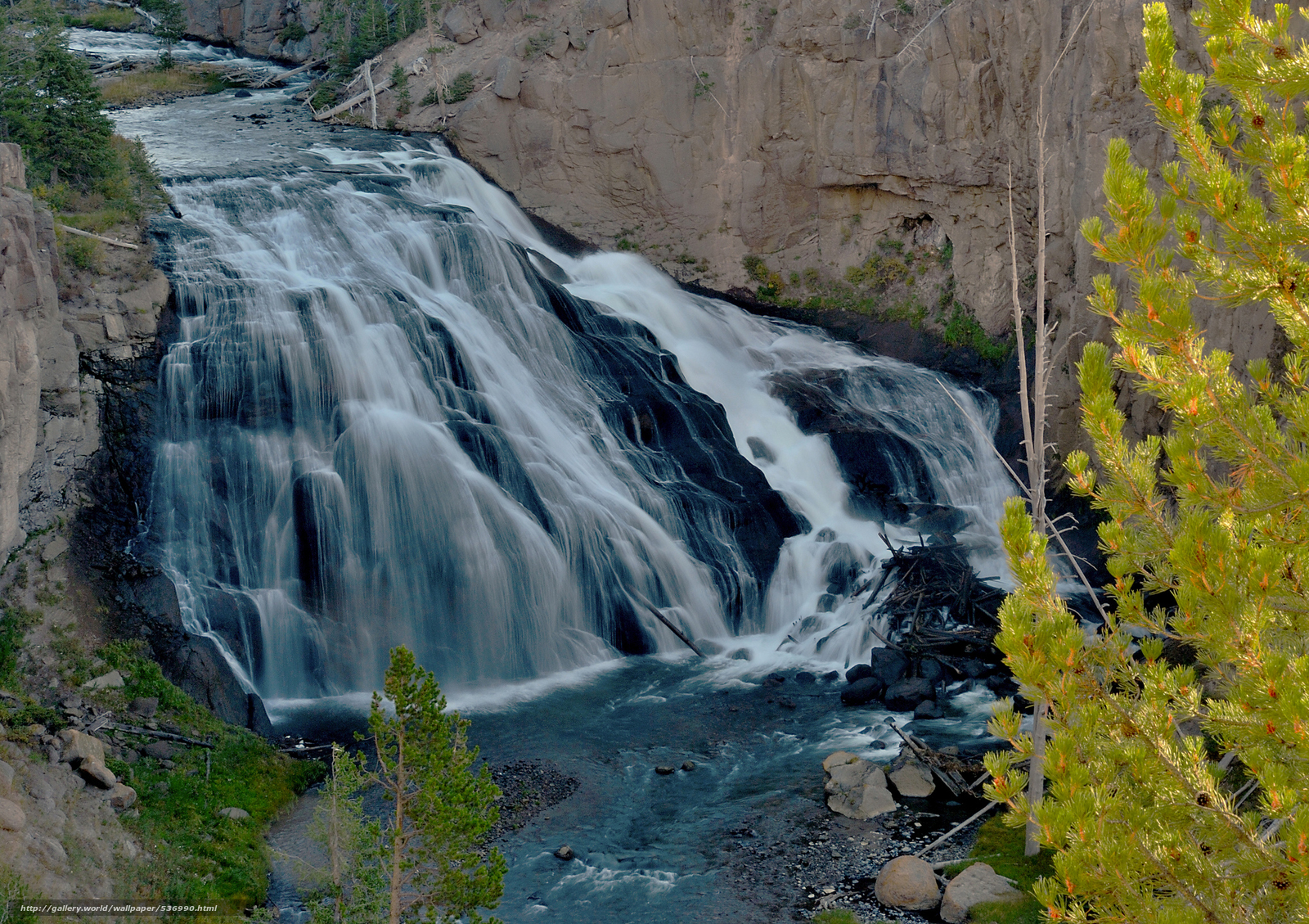Download wallpaper Show Me The Way Gibbon Falls Yellowstone NP 1600x1129