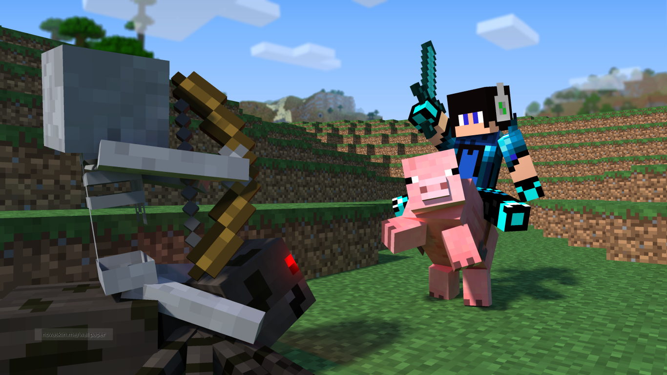 Game Networks Download Wallpapers Minecraft com minha Skin 1366x768