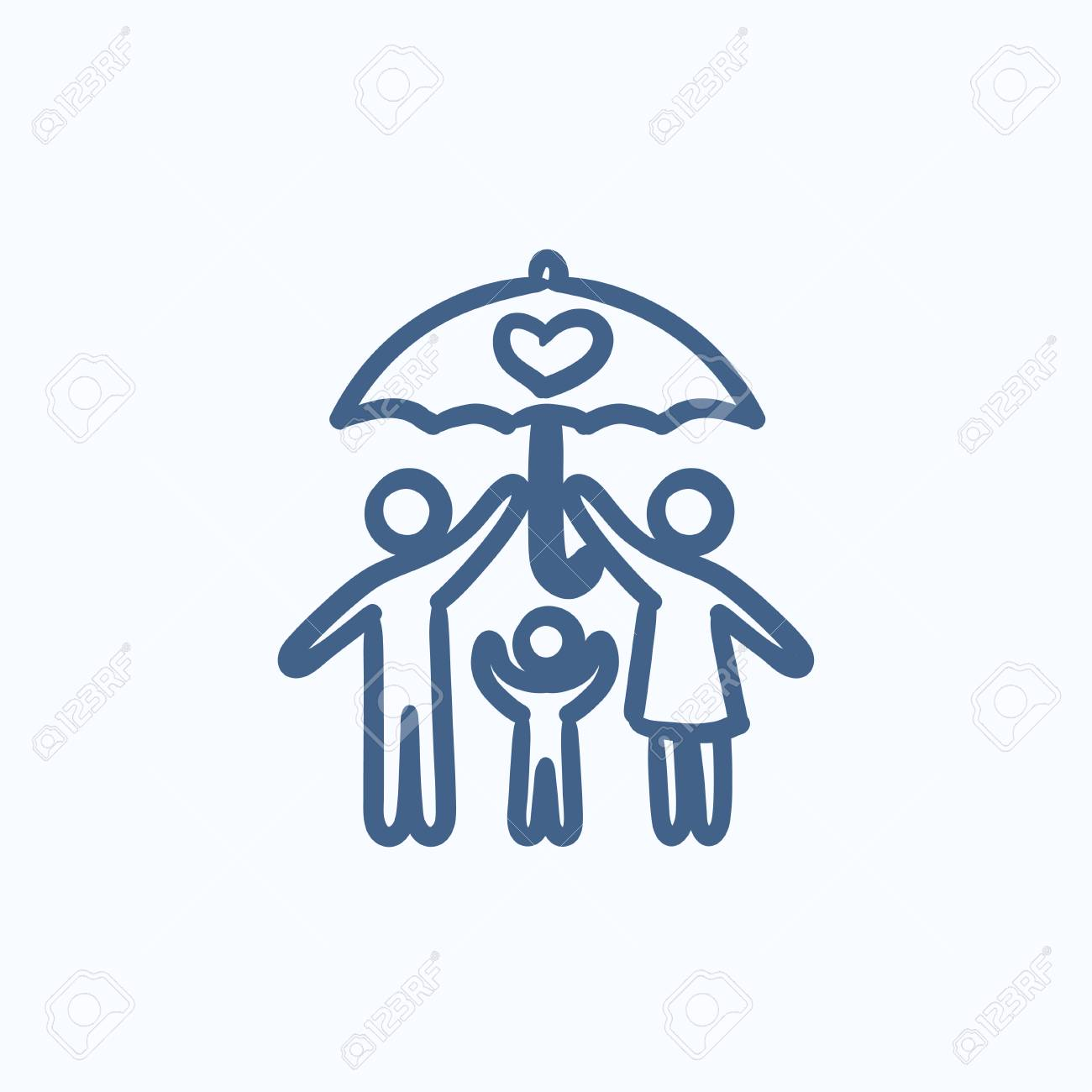 Family Insurance Vector Sketch Icon Isolated On Background Hand 1300x1300