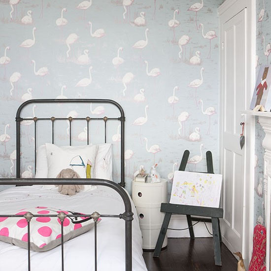 Childs room with flamingo wallpaper Traditional childrens bedroom 550x550
