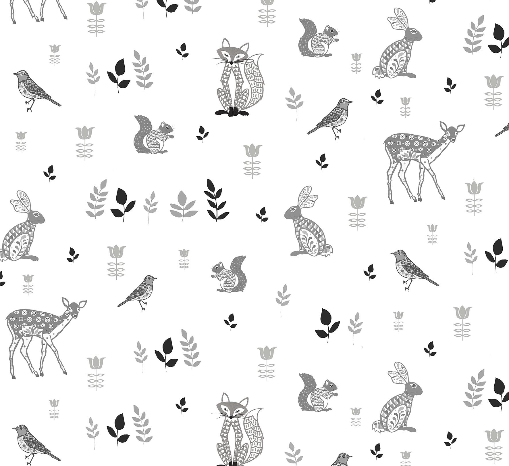 Woodland Animals Wallpaper Helen Gordon 1772x1620