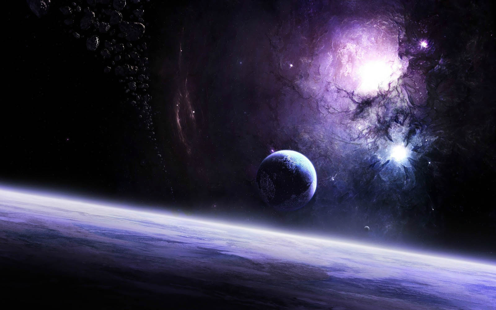 <b>Galaxies</b> Nebulae <b>Outer Space Planet</b> Earth Stars Wallpaper - WallDevil