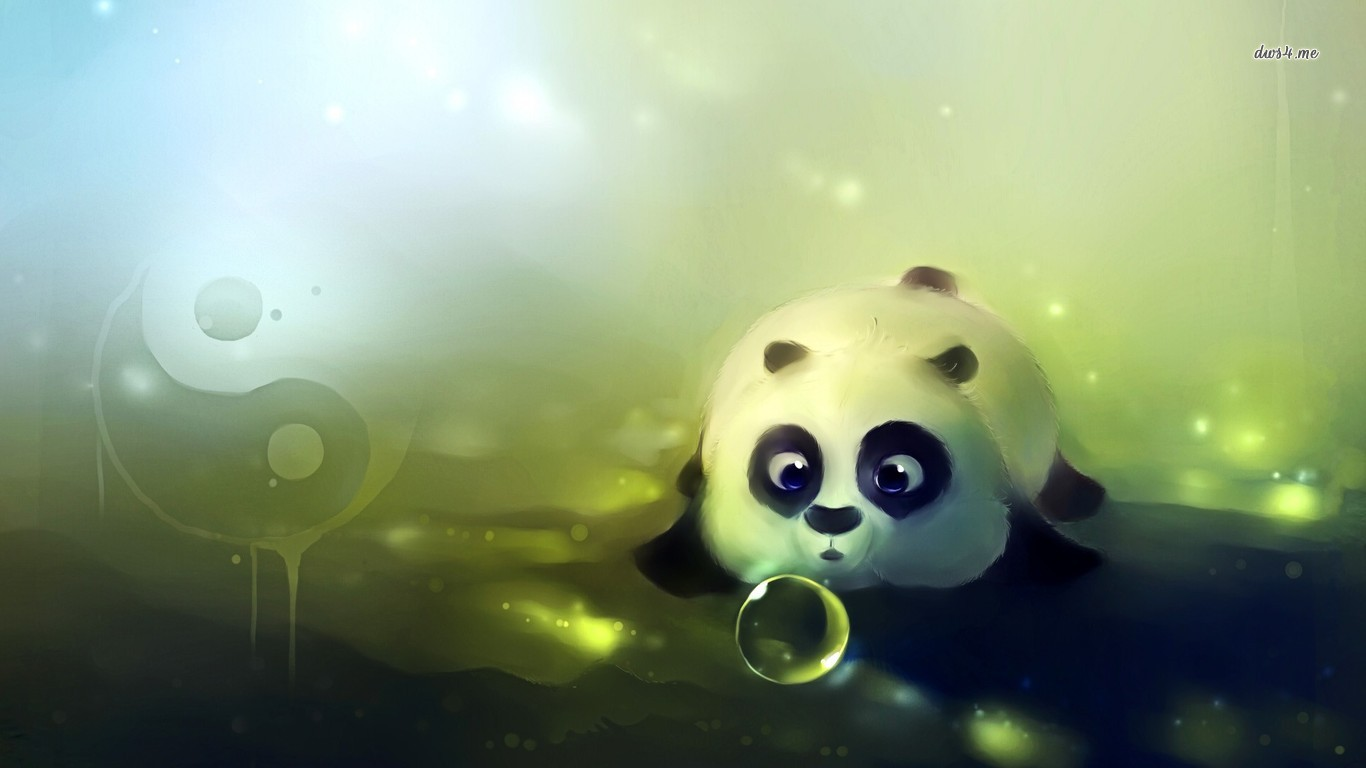 Cute panda playing with bubbles wallpaper   Artistic wallpapers 1366x768