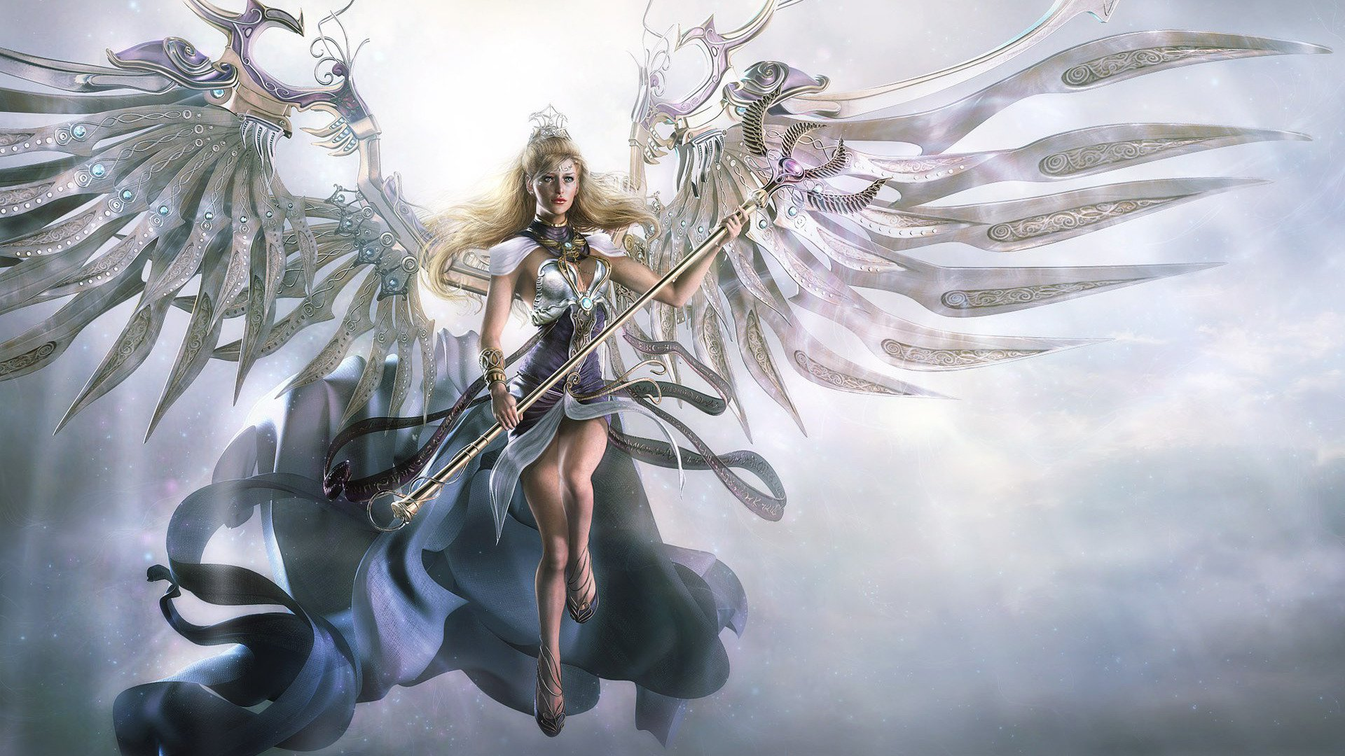 Download Angel with metal wings wallpaper 1920x1080