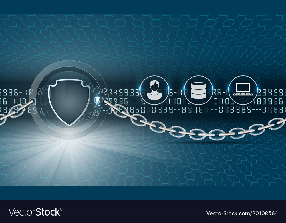 Data security abstract background with shield Vector Image 1000x780
