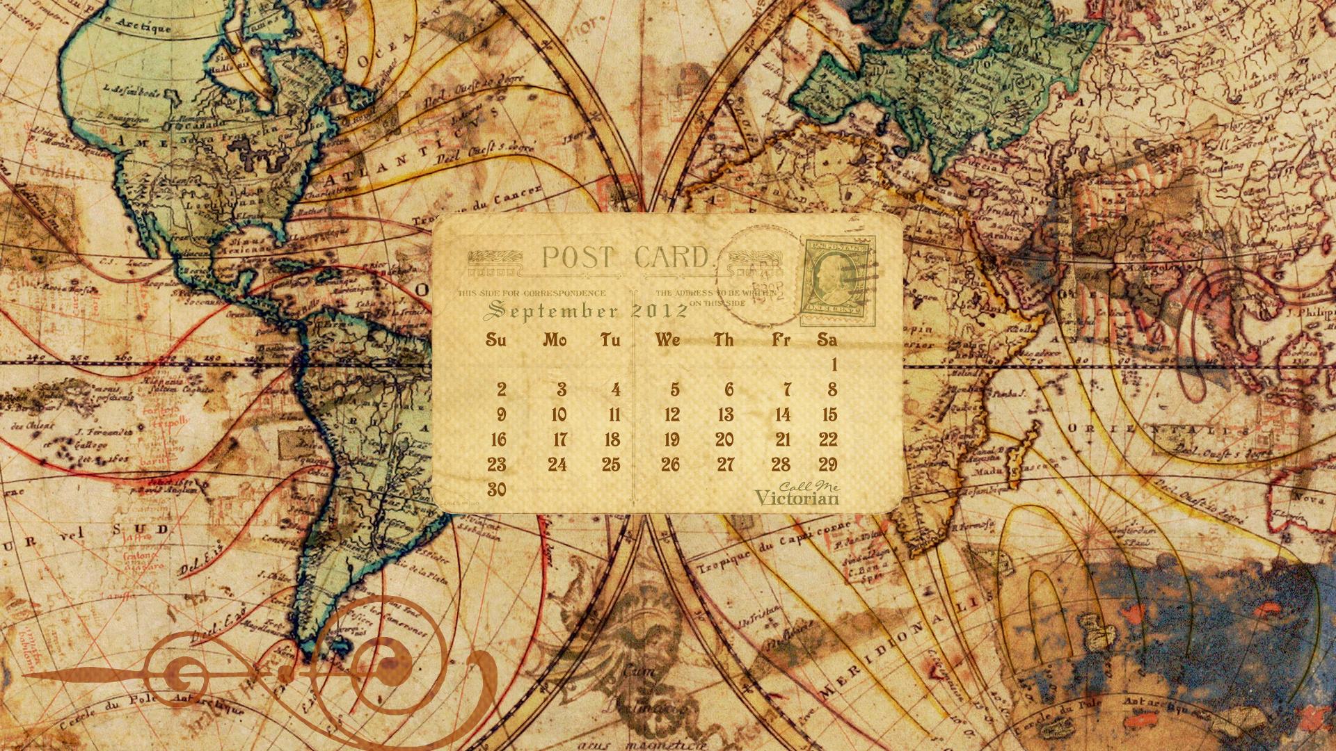 Desktop Wallpaper Calendar September 2012 Call Me Victorian 1920x1080