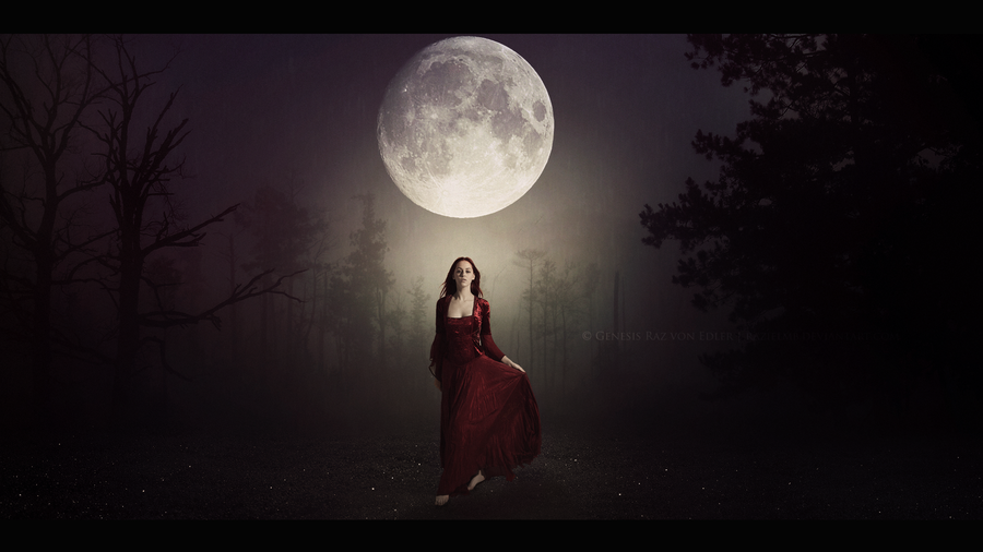 The Descent of the Moon Goddess by RazielMB 900x506