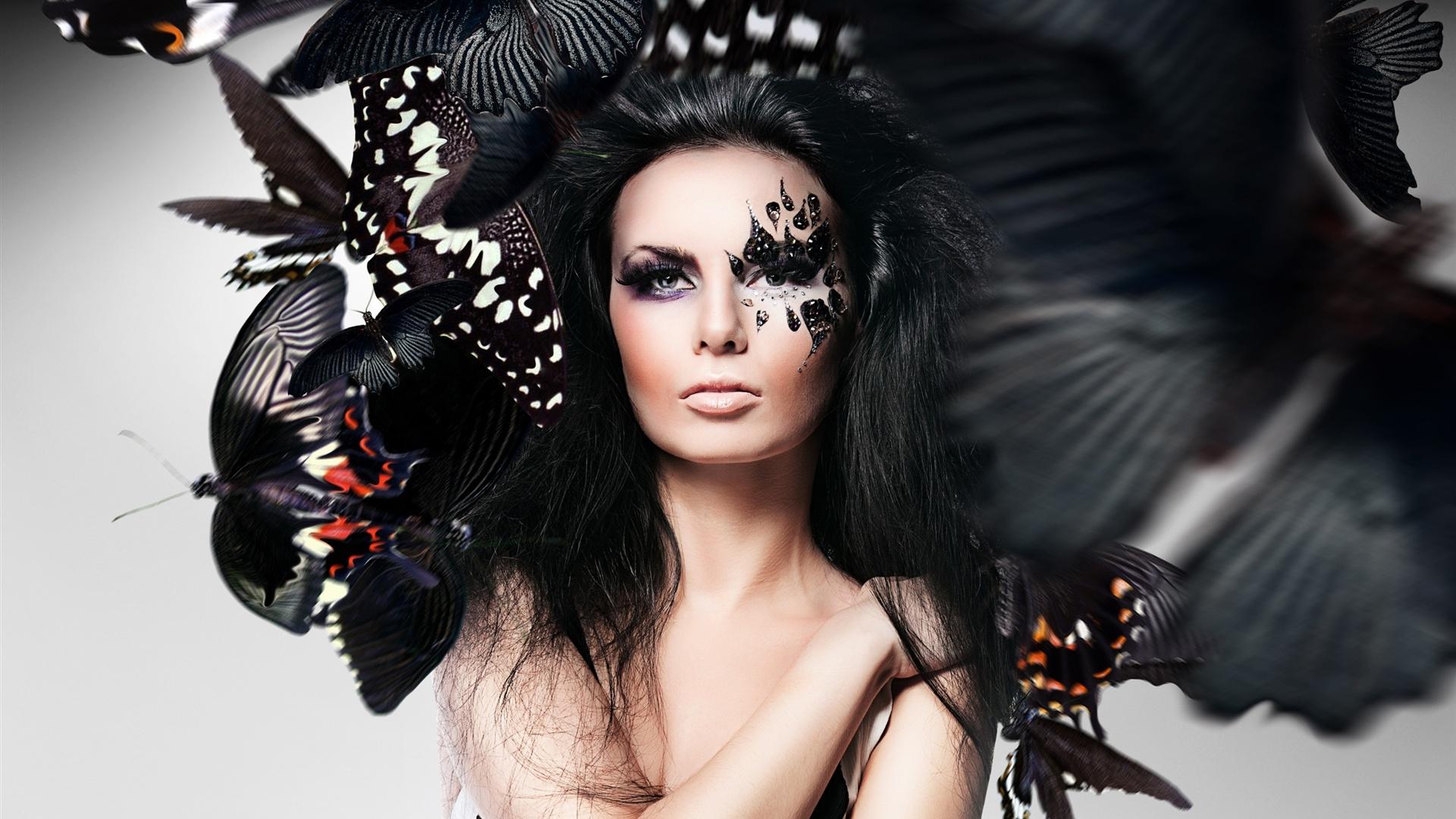 Girl Makeup Face Butterfly Photoshop Creative Design HD Wallpaper 1920x1080