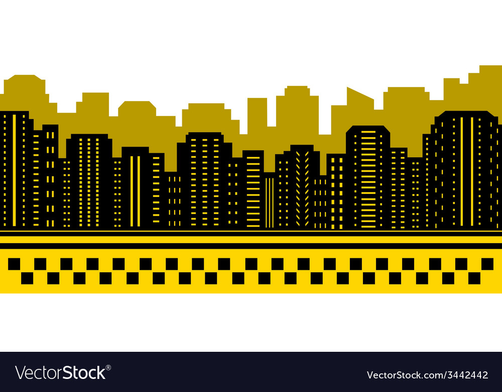Taxi background with urban landscape Royalty Vector 1000x780