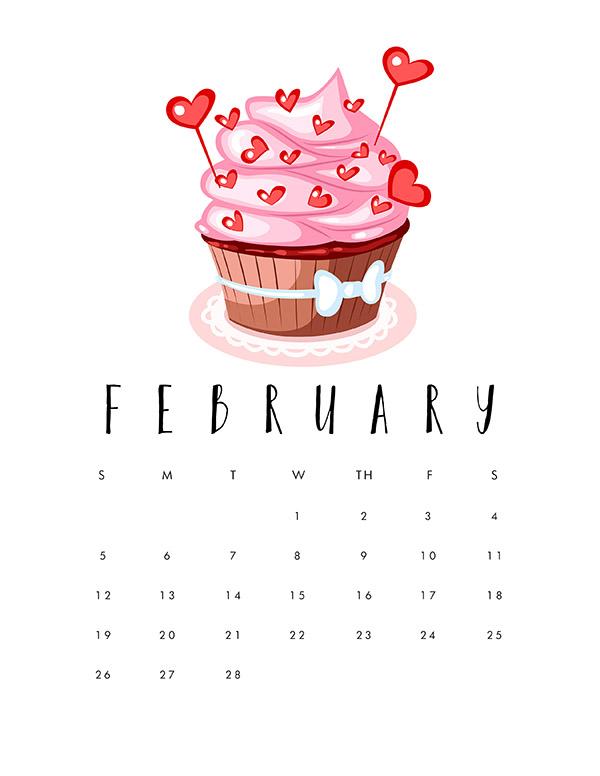 Printable 2017 Cupcake Calendar   The Cottage Market 600x776