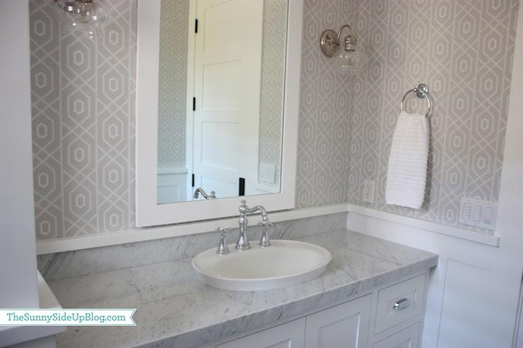 Gray Geometric Wallpaper   Transitional   bathroom   Sunny Side Up 740x493