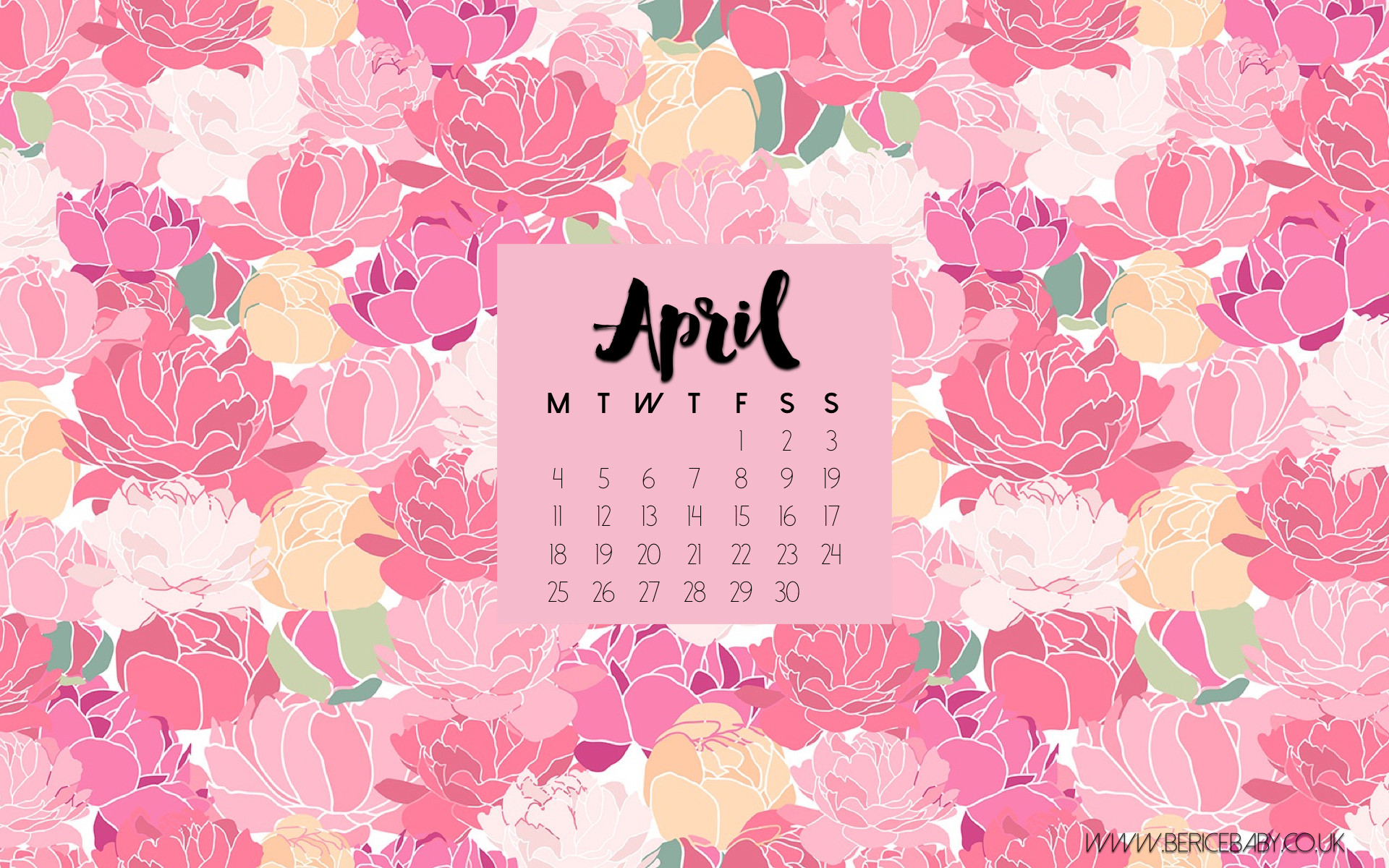 April 2016 Calendar Wallpaper Best April 2016 Calendar 1920x1200