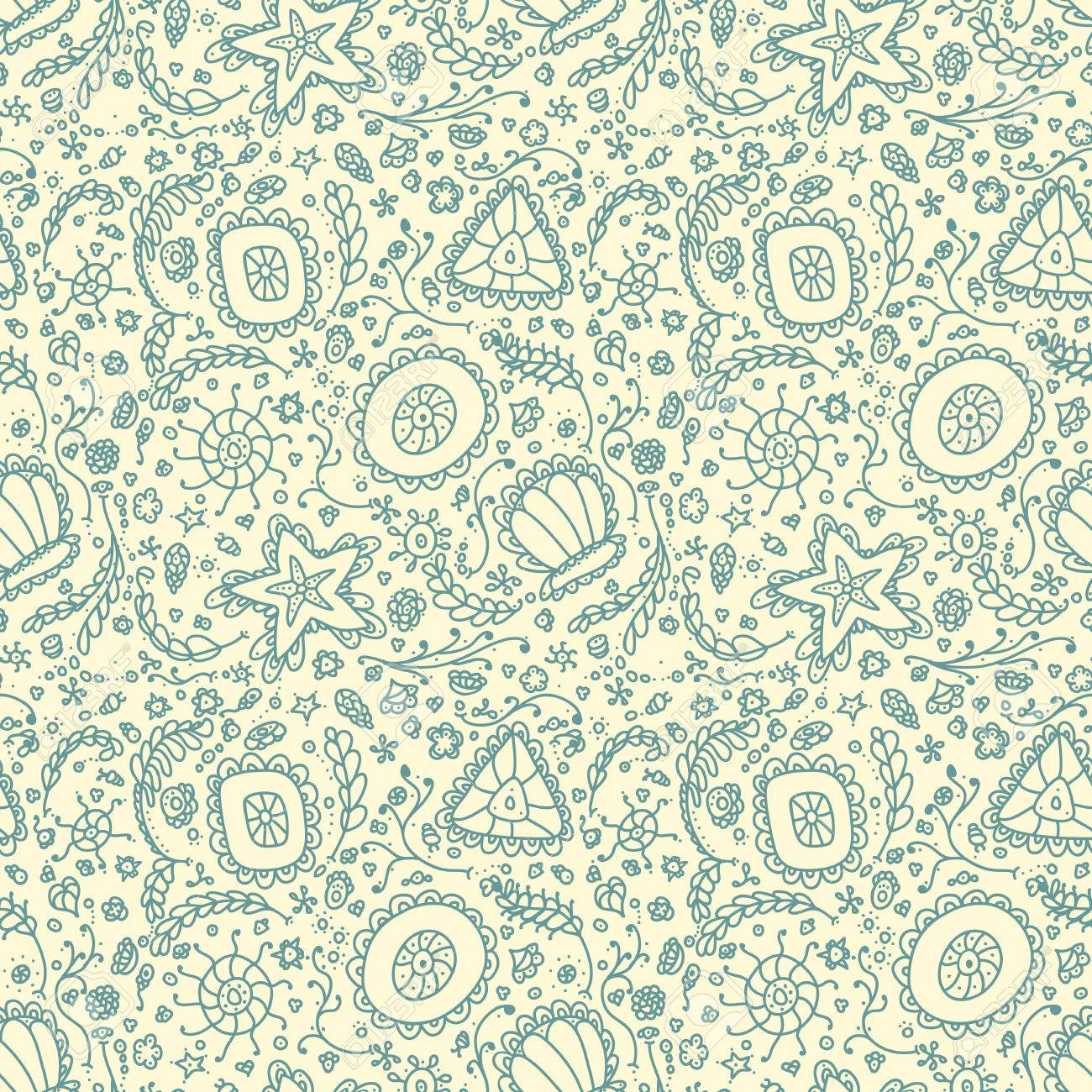Handmade Seamless Pattern Or Background With Abstract Protozoa 1300x1300