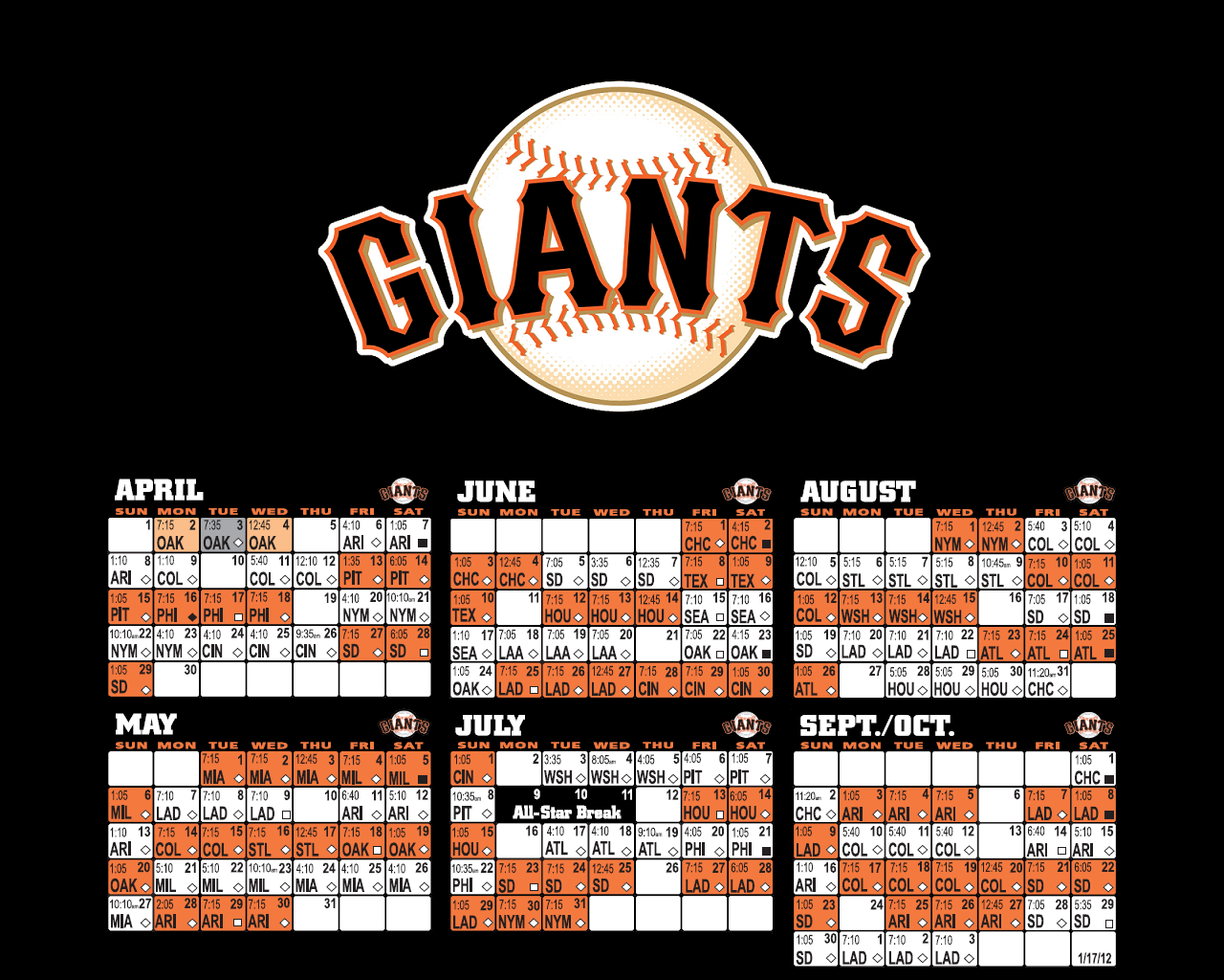 giants wallpaper collection sfgiants 2012 schedule wallpaper black 1280x1024