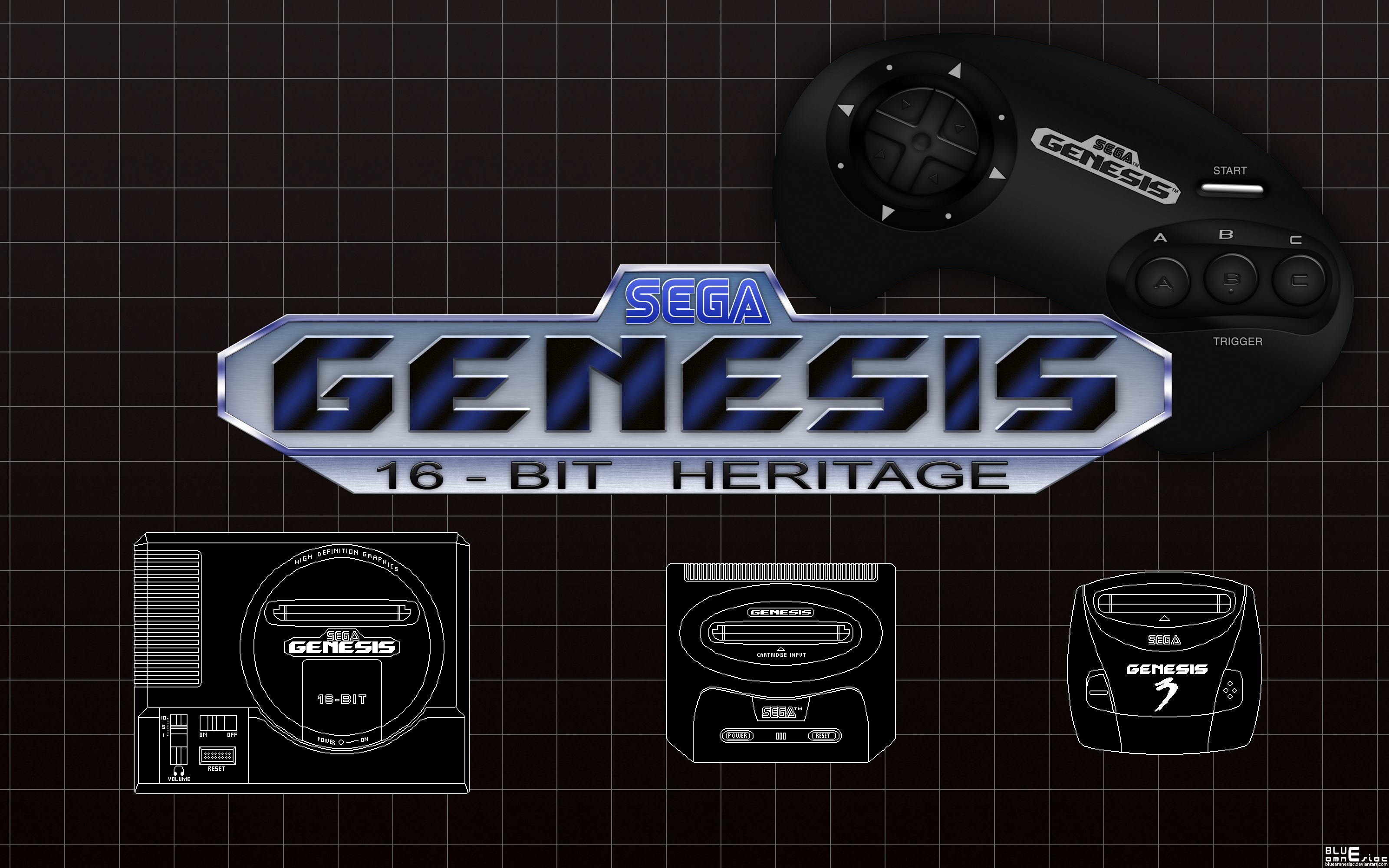 Sega Genesis 16 bit Heritage Wallpaper by BLUEamnesiac 3200x2000