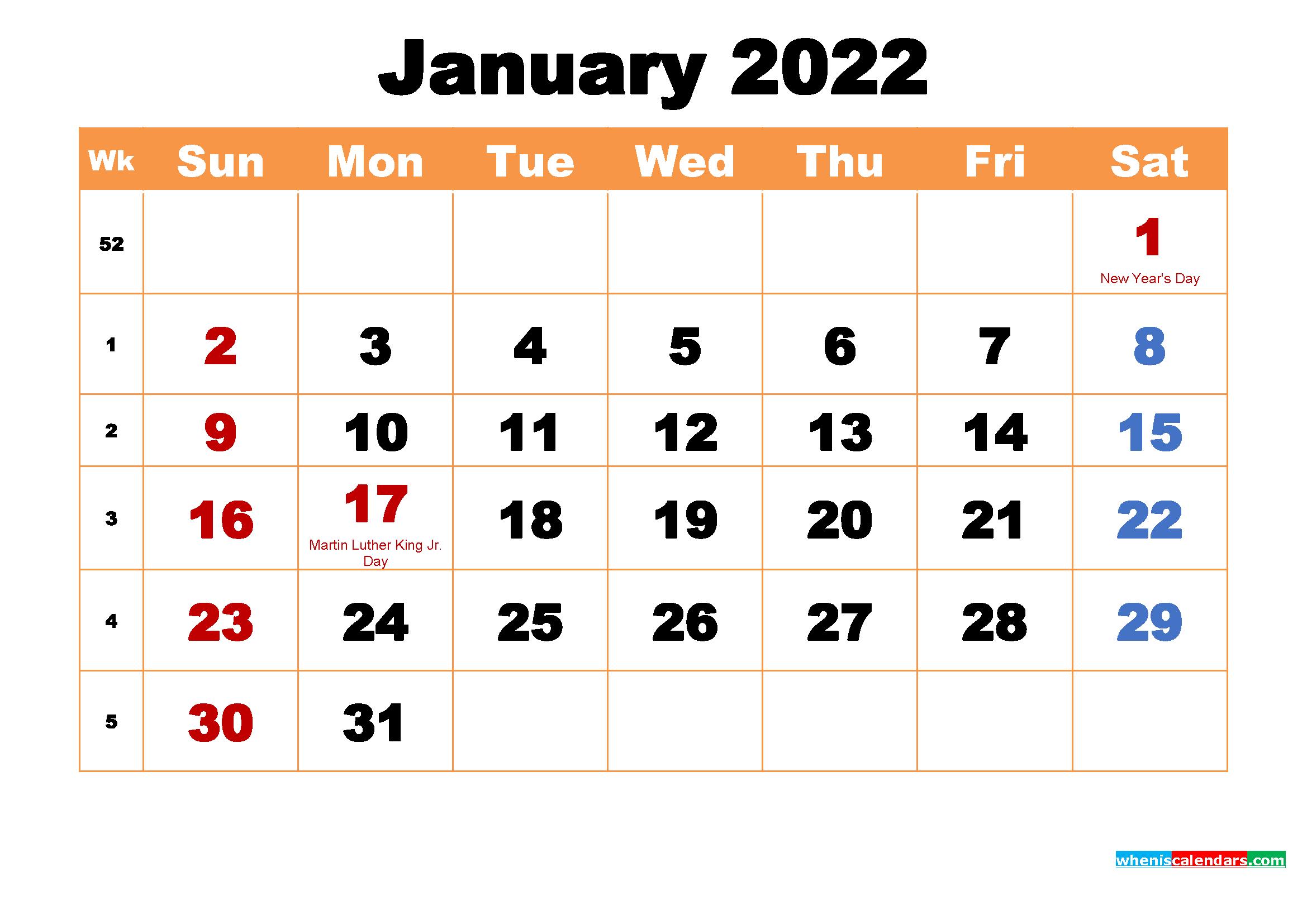 January 2022 Calendar Wallpaper High Resolution 2339x1654
