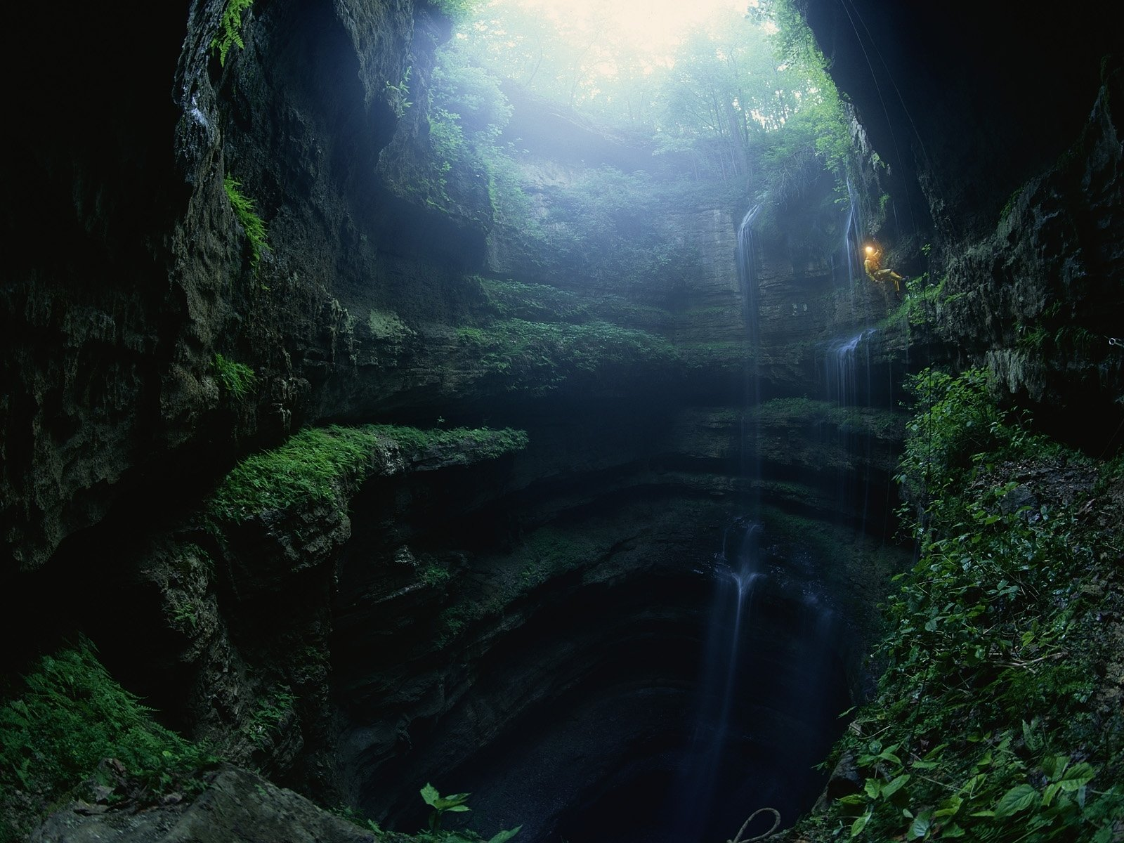 climbing caves landscapes waterfalls people jungle wallpaper 1600x1200