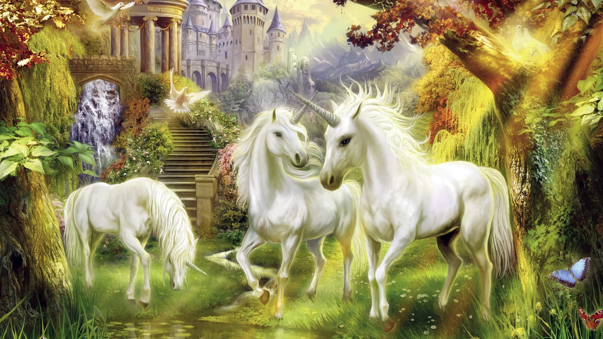 Unicorns in the castle garden wallpaper   Fantasy wallpapers   22059 1920x1080