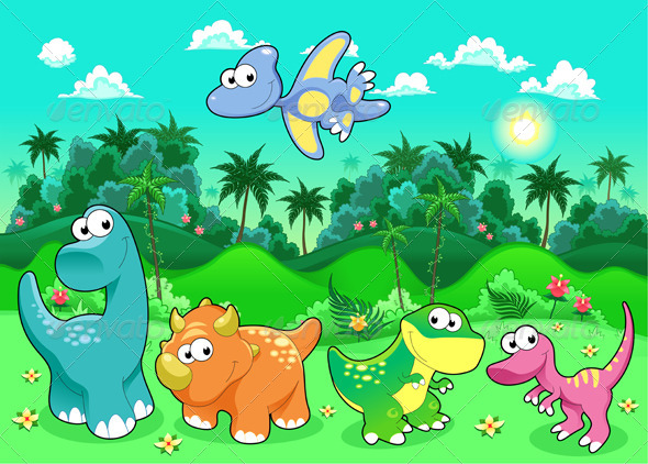 baby background brontosaurus cartoon character cute dinosaur 590x422