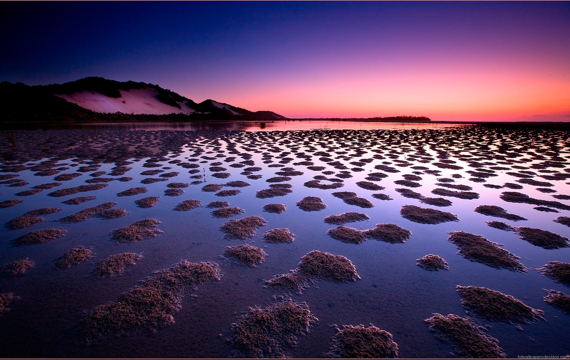розовый закат, море, горы  № 3110085  скачать