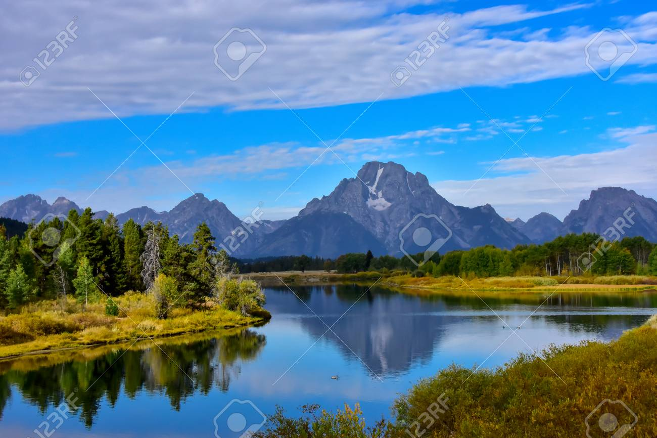 View Of Oxbow Bend With The Grand Tetons In The Background Stock 1300x866
